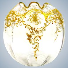 Antique St Louis French Gold Enamelled Vase with Undulating Rim.