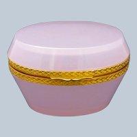 Antique Murano Oval Pink 'Alexandrite' Glass Opaline Casket Box