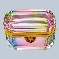 RARE Vintage Italian Murano 'Rainbow' Glass Casket Box with Smooth Mounts.