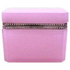 Antique Murano Pink 'Alexandrite' Glass Casket Box with Intricate Silver Mounts and Lift Clasp.