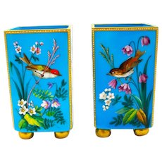 Pair of Antique MOSER Blue Opaline Vases with Flowers and Birds