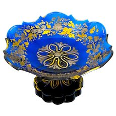 Antique Bohemian Cobalt Blue Glass Stemmed Bowl With Silver and Gold Enamelling.