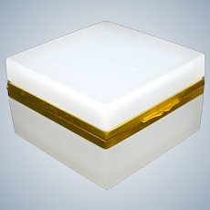 Antique Murano Square White Opaline Glass Casket Box