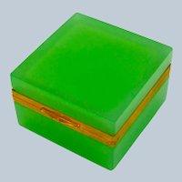 Antique Murano Square Green Opaline Glass Casket Box