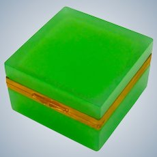 Antique Murano Square Green Opaline Glass Casket Box