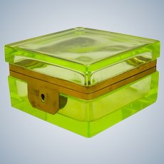 Antique Square Uranium Glass Casket with Bronze Mount
