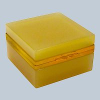 Rare Antique Murano Square Apricot Opaline Glass Casket Box