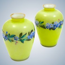 Pair of Antique Miniature French Yellow Opaline Glass Vases