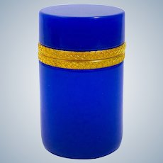 Antique Italian Murano Cylindrical Rich Lapis Blue Glass Casket Box with Intricate Dore Bronze Mounts.