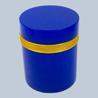 Large Antique Italian Murano Cylindrical Rich Lapis Blue Glass Casket Box .