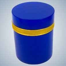 Large Antique Italian Murano Cylindrical Rich Lapis Blue Glass Casket Box .