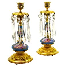 Pair of Antique French 'Sevres' Turquoise Porcelain Candlesticks Mounted in Dore Bronze.