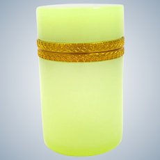 Antique Italian Murano Lemon Yellow Opaline Glass Cylindrical Box