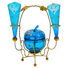 Antique MOSER Turquoise Glass Enamelled Set