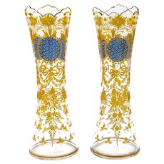 Pair of Antique Bohemian MOSER Blue and Gold Enamelled Vases