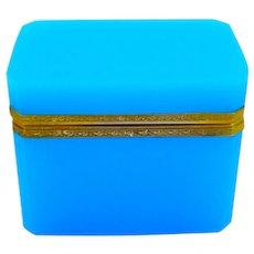Antique French Blue Opaline Glass Casket Box .