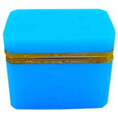 Antique French Rectangular Blue Opaline Casket Box with Fancy Dore Bronze Mounts and Lift Clasp.