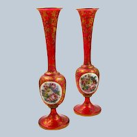 Stunning Pair of Tall Antique Bohemian Overlay Vases with Large Panels of Hand Painted Flowers.