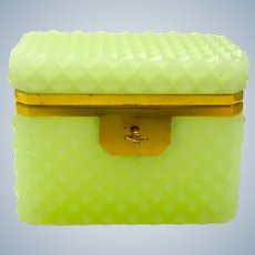Antique Lemon Opaline Glass 'Diamond Cut ' Rectangular Casket Box and Key.