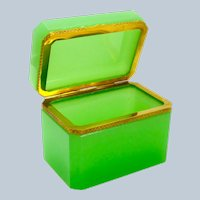 Antique French Green Opaline Glass Casket Box with Fancy Dore Bronze Mount.