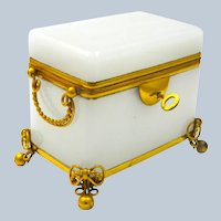 Antique French White Opaline Glass Casket Box with Fine Dore Bronze Mounts.