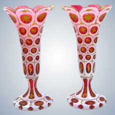 Pair of Antique Bohemian Cranberry and White Overlay Glass Vases