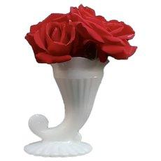 Antique French White Opaline Glass Cornucopia Vase