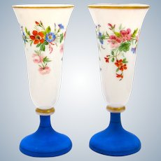 Pair of Antique French Opaline Vases Decorated with Hand Painted Flowers