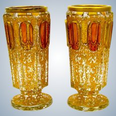 Pair of Antique Moser Glass 'Jewel' Vases with Amber Cabochons