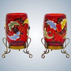 Beautiful Pair of Antique MOSER Red Glass Vases with Dore Bronze Mounts.