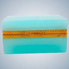 Antique Murano Turquoise Opaline Glass Rectangular Casket Box
