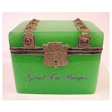 French 19th Century Green Opaline Casket with Dore Bronze Mounts