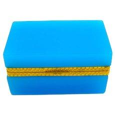 Antique Murano Blue Opaline Glass Rectangular Casket Box