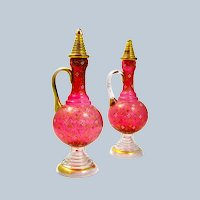 Pair of Antique Tall MOSER Cranberry Glass Enamelled Bottles and Stoppers.