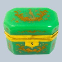 Antique Green Opaline Glass Enamelled Casket Box with Dore Bronze Mounts.