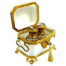 Fine Antique French White Opaline Glass Perfume Casket