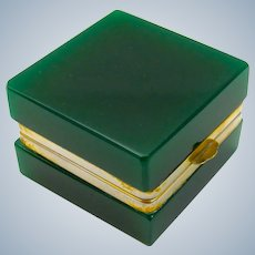 Unusual Antique Murano Miniature Dark Green Glass Square Casket Box