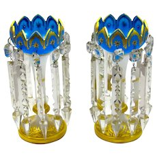 Pair of Antique French Tulip Shaped Blue and White Opaline Glass Lustres