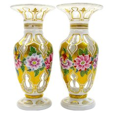 A Superb Miniature Pair of Bohemian White Opaline Overlay Glass Vases