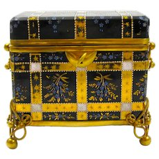 Large Antique MOSER Glass Casket Box Decorated with Enameled Sprays of Flowers.