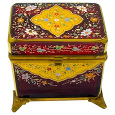 Antique MOSER Bohemian Ruby Red Glass Casket Box Enamelled with Colourful Flowers Throughout