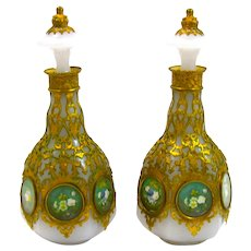 Pair of Unusual Palais Royal White Opaline Glass Perfume Bottles with 6 Miniatures of Flowers.