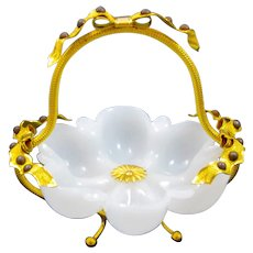 Large Antique Palais Royal White Opaline Glass Basket with Very Fine Dore Bronze Bows on the Rim and Handle.