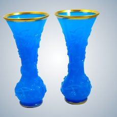 Pair of Antique BACCARAT Blue Opaline Glass Vases Decorated with Garlands of Flowers and Foliage.