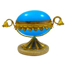 Antique French Blue Opaline Glass Egg Shaped Box with Fine Dore Bronze Mounts and Marble Base.