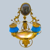 Antique Palais Royal French Blue Opaline Glass and Mother of Pearl Inkwell and Pen Holder.