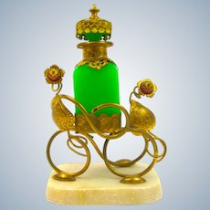 Antique Palais Royal Green Opaline Glass Perfume Bottle with Fine Dore Bronze Mounts and Pink Opaline Glass Flowers..