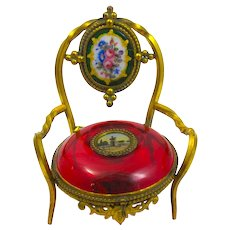 Antique French Palais Royal Ruby Red Glass Ring and Jewellery Holder in the Shape of a Chair.