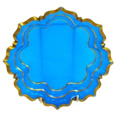 Antique French Blue Opaline Glass Dish Highlighted around the Edges in Gold.