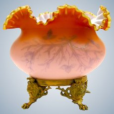 Antique French Peach Opaline Glass Centrepiece with Dore Bronze Mounts.